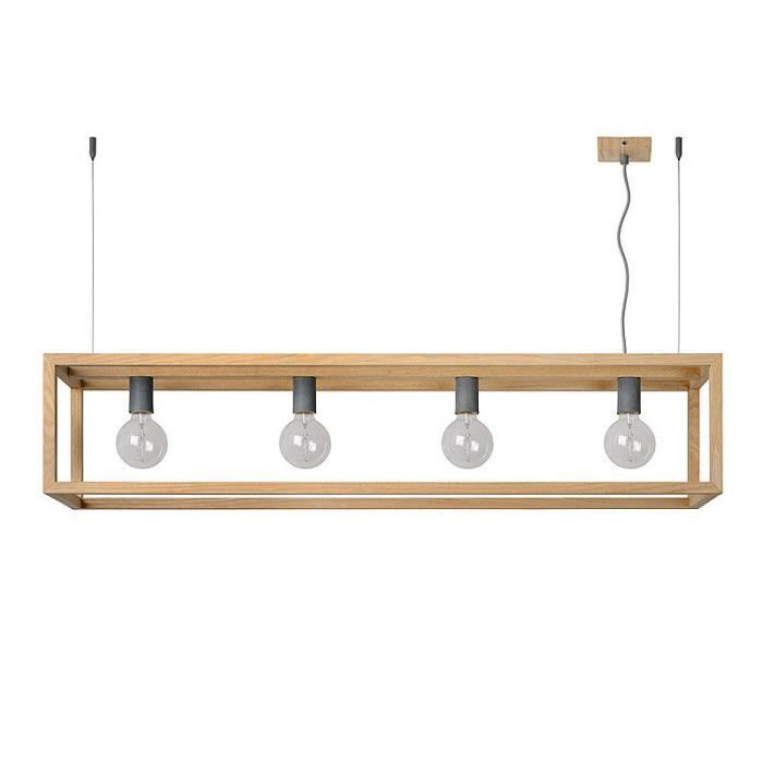 Suspension barre rectangulaire 4 lumi res en bois longueur for Suspension rectangulaire