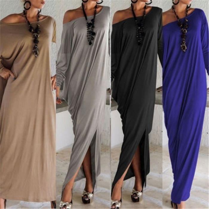 Automne Encolure longue Robe longue robe à manches longues de Split Femmes Soirée Cocktail Robes de plage-5075