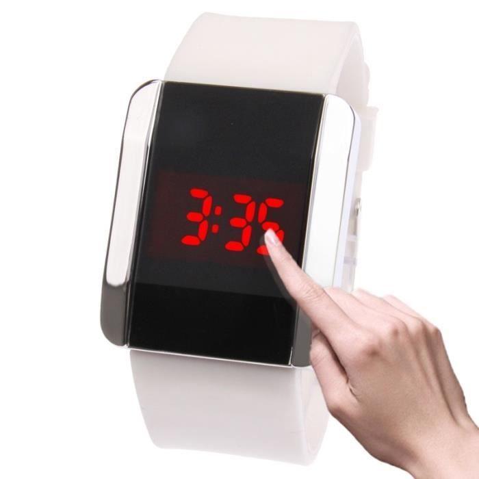 Montres tactiles Mode LED rouge numérique Bangle montre-bracelet et bracelet  en caoutchouc hommes femmes 70f854104ea