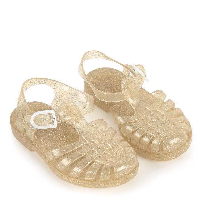 Sandales fille en plastique pailletée or - Doré - 35