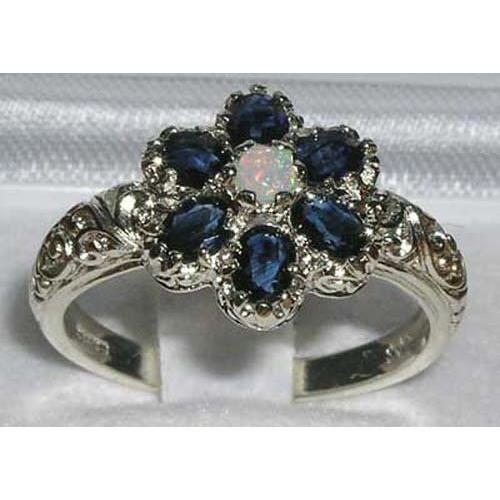Bague pour Femme en Or blanc 9 carats 375-1000 sertie de Saphir bleu Opale- Tailles 50 à 64