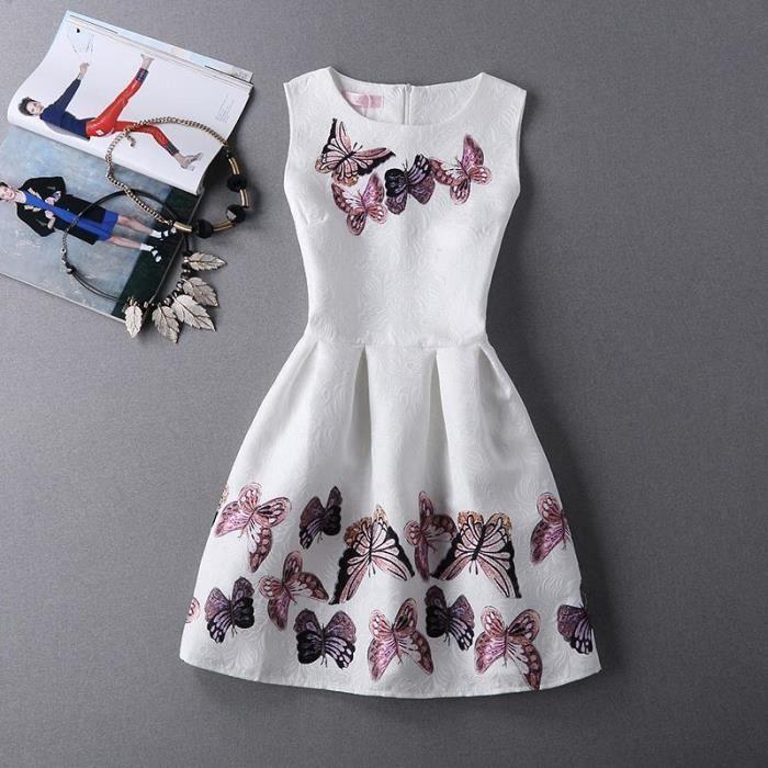 Papillon Mode Sans Des Nouveau Robes Manches Femmes Rond Collier ymw08nPNOv