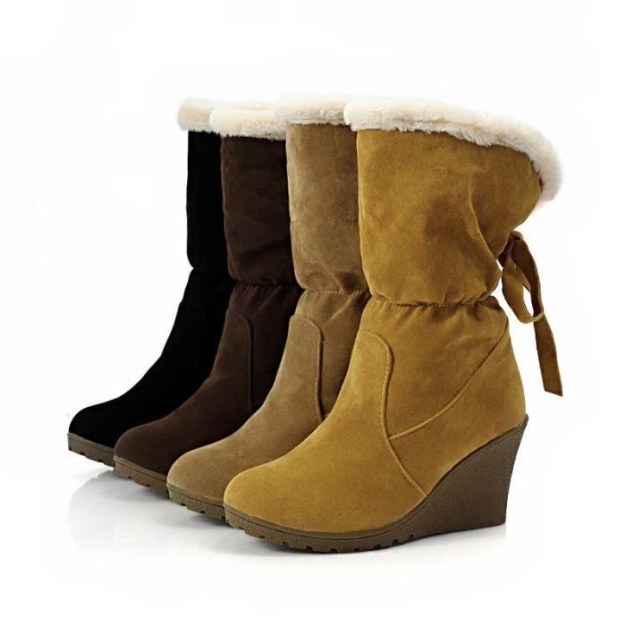 Mode fourrure de neige d'hiver Bottes femme Bottes talons 2017 femmes cheville Bottes hiver chaud chaussures de neige,marron,37