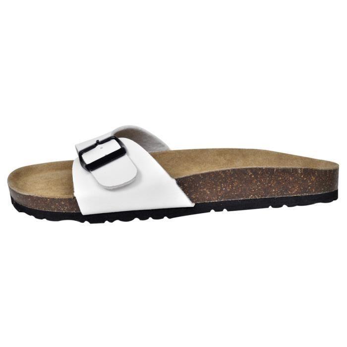 Sandales unisexes blanches en liège bio à fermeture à boucle