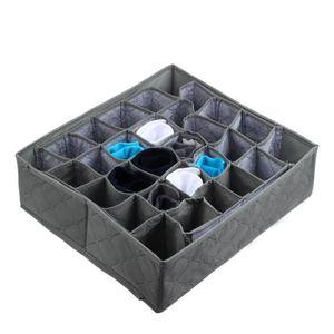 BOITE DE RANGEMENT 30 cellules bambou charbon cravates chaussettes ti