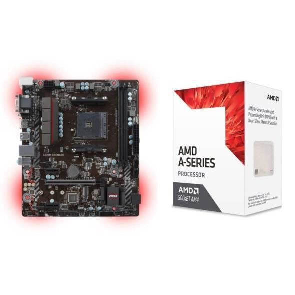 MSI Carte mère AMD A320M GRENADE Socket AM4 DDR4 2667 Mhz + AMD Processeur Bristol Ridge A8 9600 APUs Socket AM4 4/4 Core 3400 MHz