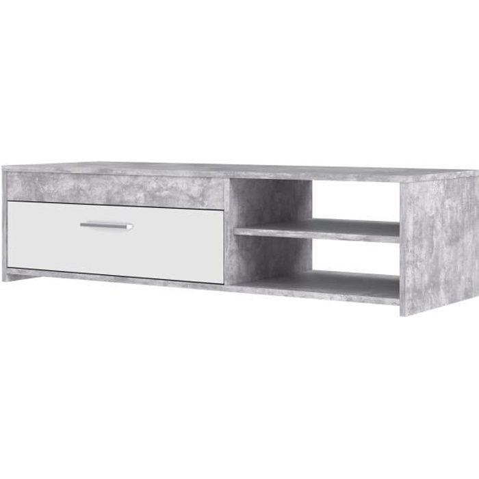 PILVI Meuble TV contemporain - Blanc et béton gris clair - L 120 x P 42,1 x H 31,8 cm