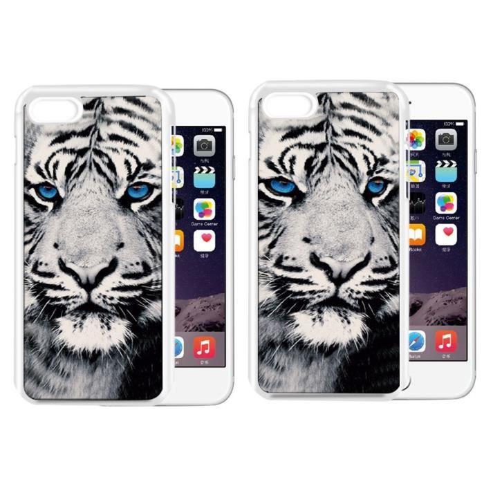 PLATYNE Coque effet 3D pour iPhone 6+ / 6+s en PVC - Tigre blanc