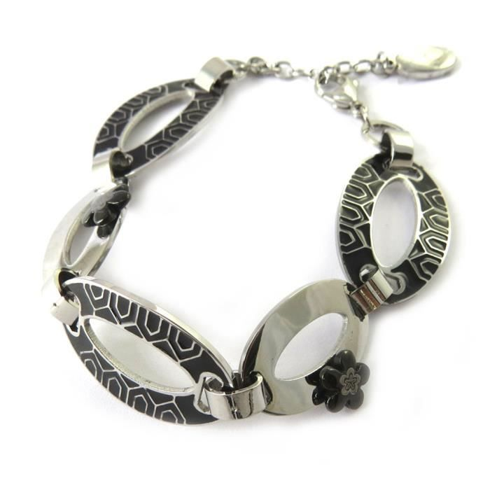 Altesse [M7225] - Bracelet acier Calypso noir argenté (flora)
