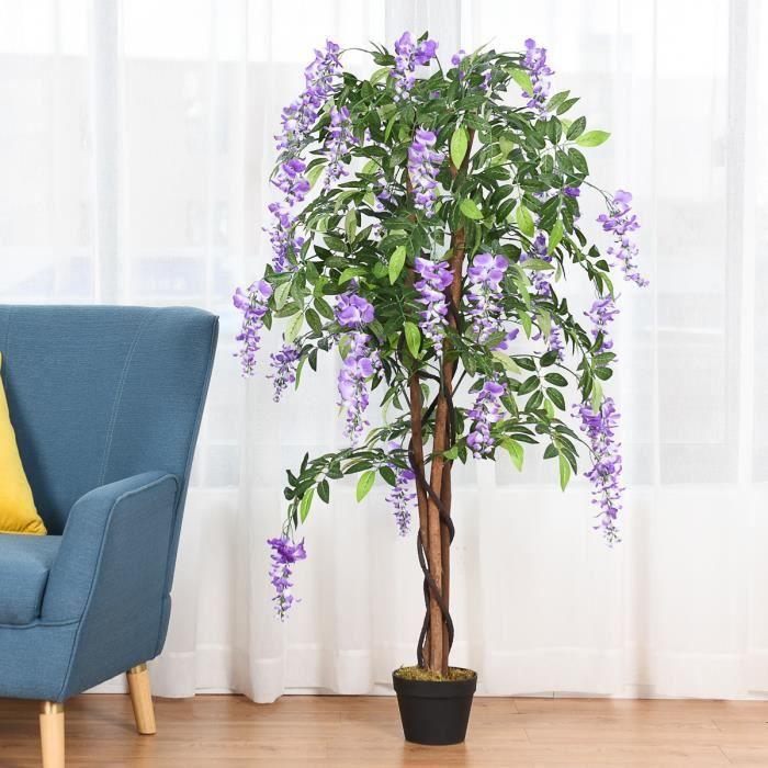 FLEUR ARTIFICIELLE Plante Artificielle avec Fausses Fleurs Violetes 1