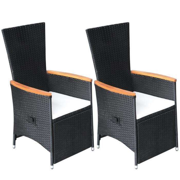 Fauteuils club, fauteuils inclinables et chauffeuses lits Chaise inclinable  de jardin 2 pcs Rotin synthetique Boi