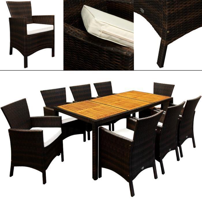 Salon de jardin 17pcs en polyrotin - dessus de table en bois d ...