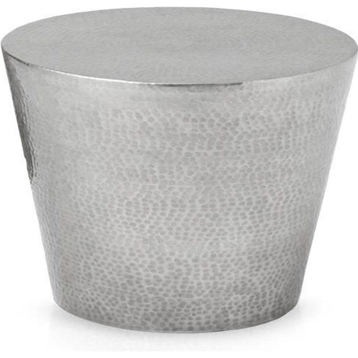 670b48488d8fd9 Table basse ronde en métal poli martelé Gaby Argent - Achat   Vente ...