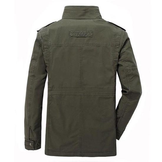 Automne Manteau Multi Mode Hommes pocket Armée Moyenne Manches Hiver Verte De Longues Longueur Veste rzrwERq5