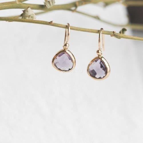 Womens Purple Simulated Amethyst Drop Earrings O9EY7