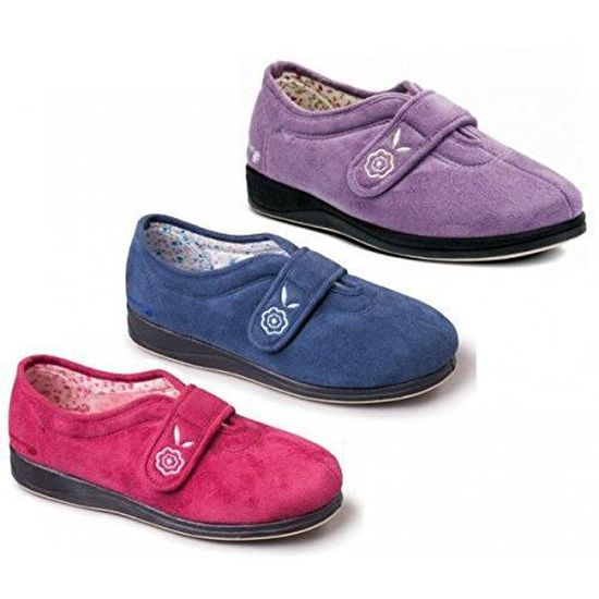 Camilla Velcro Extra Ladies Montage Chaussons Padders Large ee wW1vAcnqT