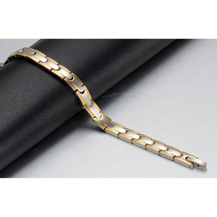 Femmes en acier inoxydable Healthy thérapie magnétique Bracelet, Argent, Gold Edge