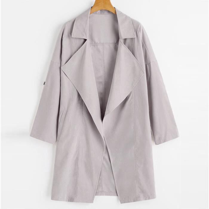 Outwear Manches Parka Solides Manteau Longues Veste Cooldiscovere Coupe Lâche vent Manteaux Femmes Gris q6vRxZn6