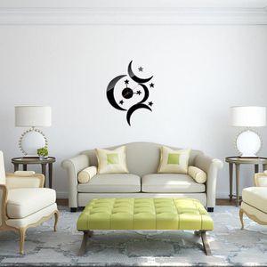 HORLOGE - PENDULE Style Moderne Lune Étoile DIY Miroir Horloge Mural