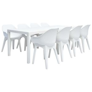 SALON DE JARDIN Ensemble De Mobilier Jardin 9 Pcs 1 Table 220