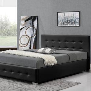 STRUCTURE DE LIT SONNAC 140 NOIR - Structure de lit avec coffre de
