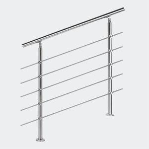 RAMPE - MAIN COURANTE Rampe d'escalier Acier inoxydable 5 Tiges 80 cm Ra
