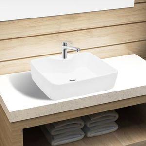 LAVABO - VASQUE Vasque carré à trou pour robinet céramique blanc p