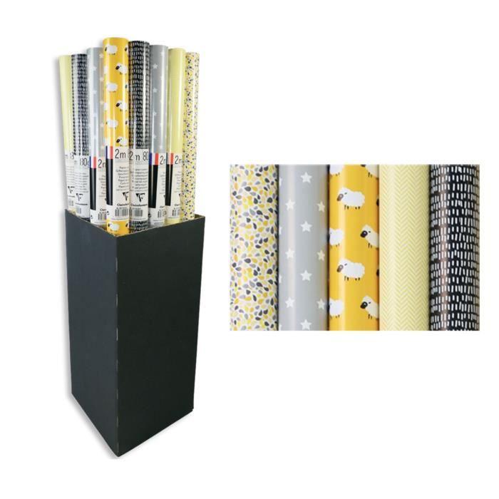 CLAIREFONTAINE Rouleau papier cadeau Excellia Moutons - 2 x 0,7 m - 80 g / m² - 5 motifs assortis sous film