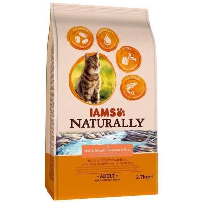 IAMS Naturally Croquette Saumon Atlantique Nord & Riz - Toutes races - 2,7 kg - Pour chat adulte