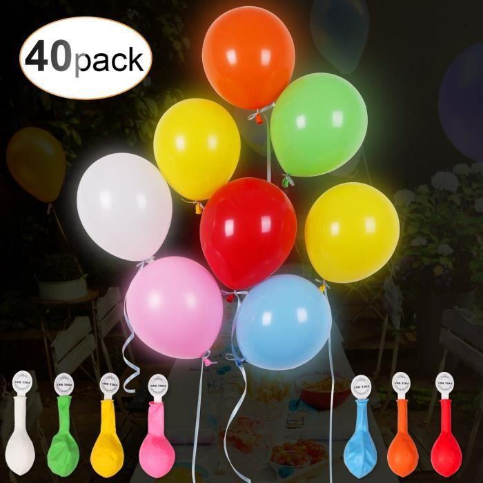 Fête Ballon Enfant 40pcs Et Ballons Lumineux Couleur Mariage Décoratif Ruban Soirée Led Pour Anniversaire Coloré Multi 9WDI2EH