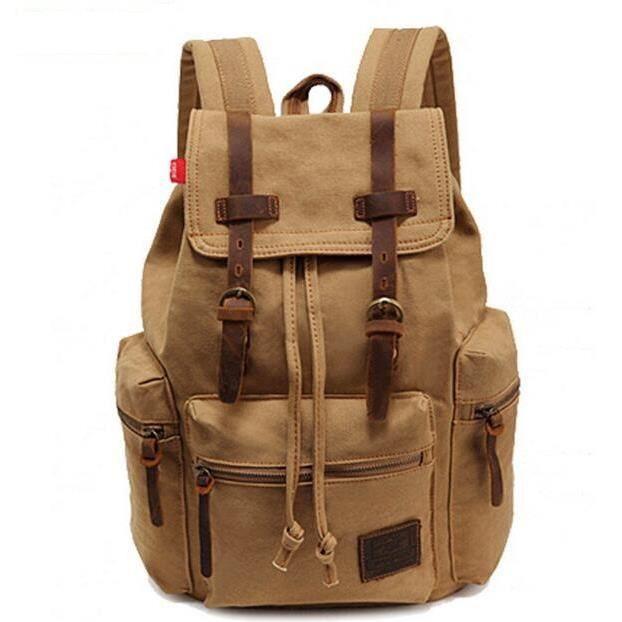 Sac à dos en cuir vintage et toile hommes Patchwork sac vintage dépaule de sac à dos sac de voyage de sac décole Kaki