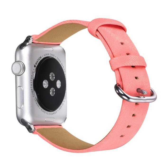 Bracelet Apple Watch 42mm Femme Bracelet de Remplacement en Cuir PU pour  iWatch Séries 1/2/3 avec Fermoir à Clou en Métal (Rose)