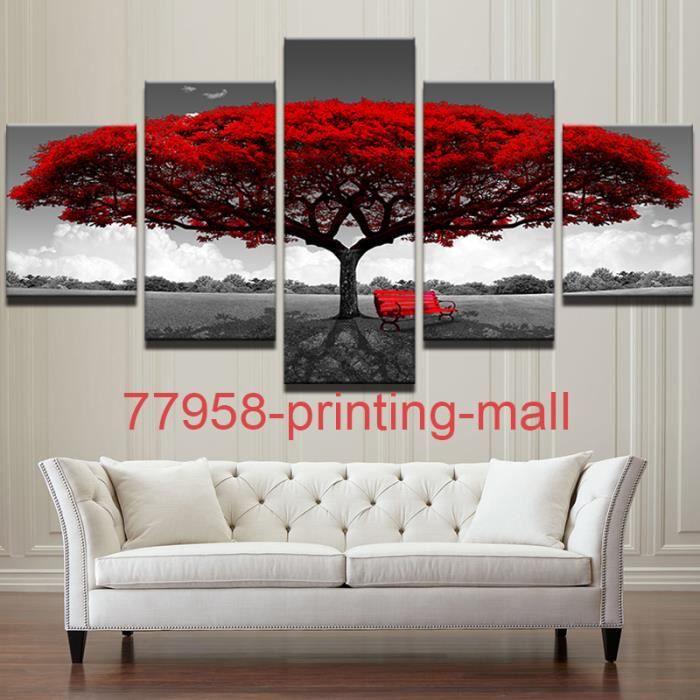 Elegant Printing Mall Sans Cadré (Pas De Cadre)Tableau Decoration Salon 5 Panneaux  Rouge Arbre Art Paysage Mur De Toile Art Photos