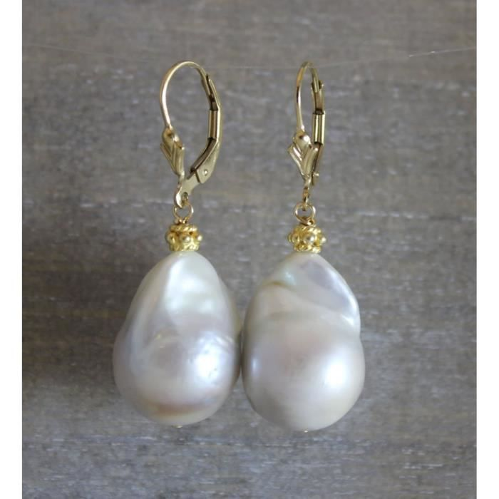 Womens Baroque Cultured Freshwater Pearl Drop Leverback Earrings In 14kt Gold Filled 04 SWWST