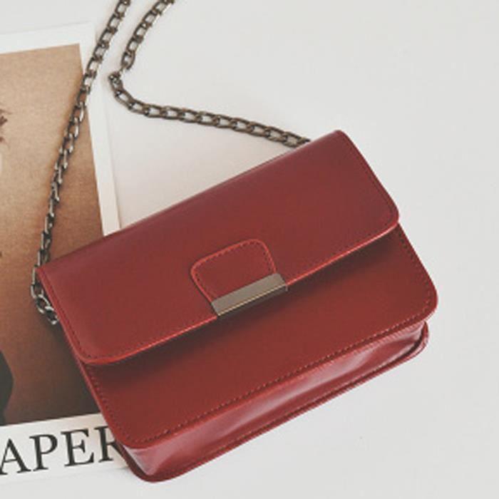 Dame en cuir mini sac à bandoulière vin rouge - Achat   Vente Dame ... 7695954b48f