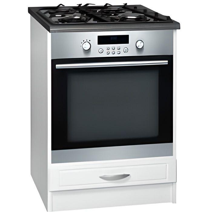 Latest meuble cuisine bas cm abattant dina blanc with - Meuble bas pour plaque de cuisson ...