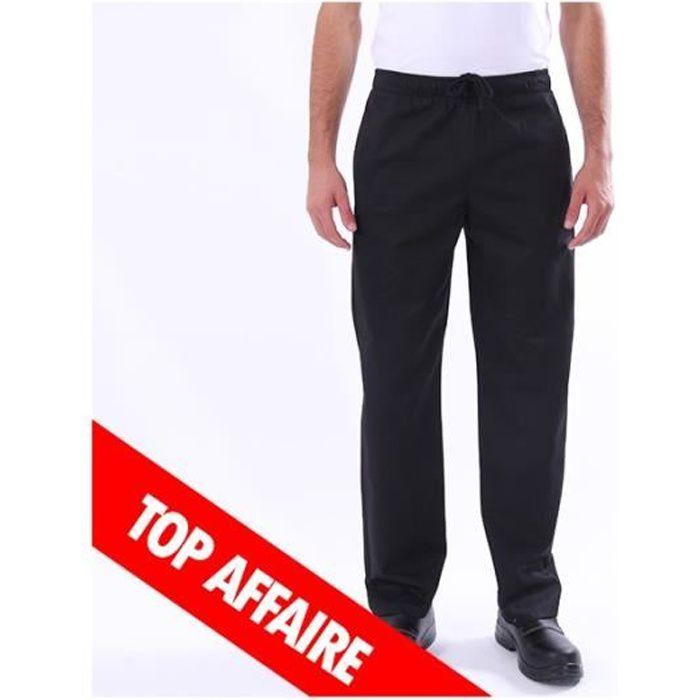 Pantalon de cuisine noir - Achat   Vente pas cher 84bf9a6a3f35