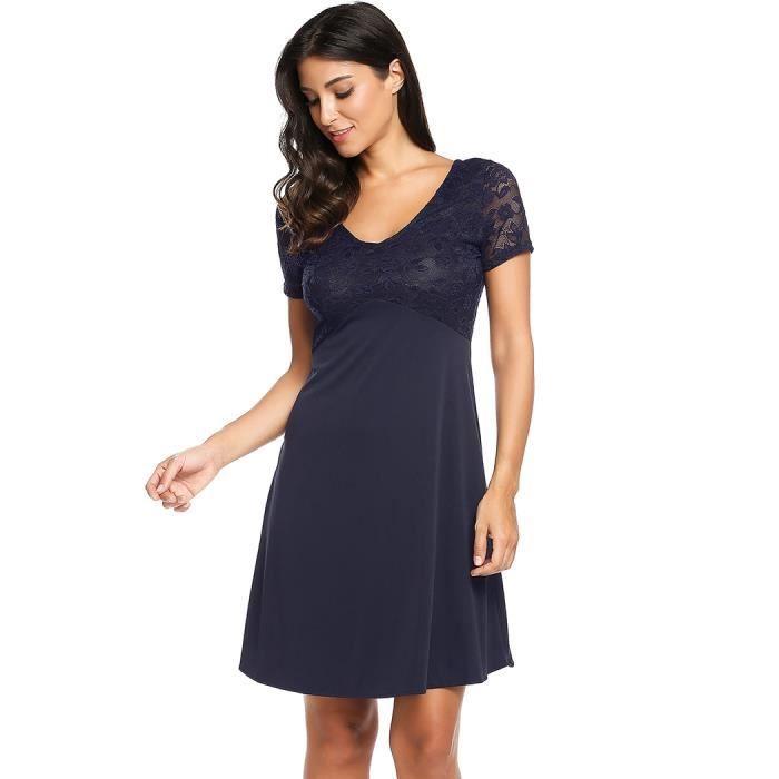 femme robe a-ligne plissée de Hem Casual Double coldentelle Patchwork