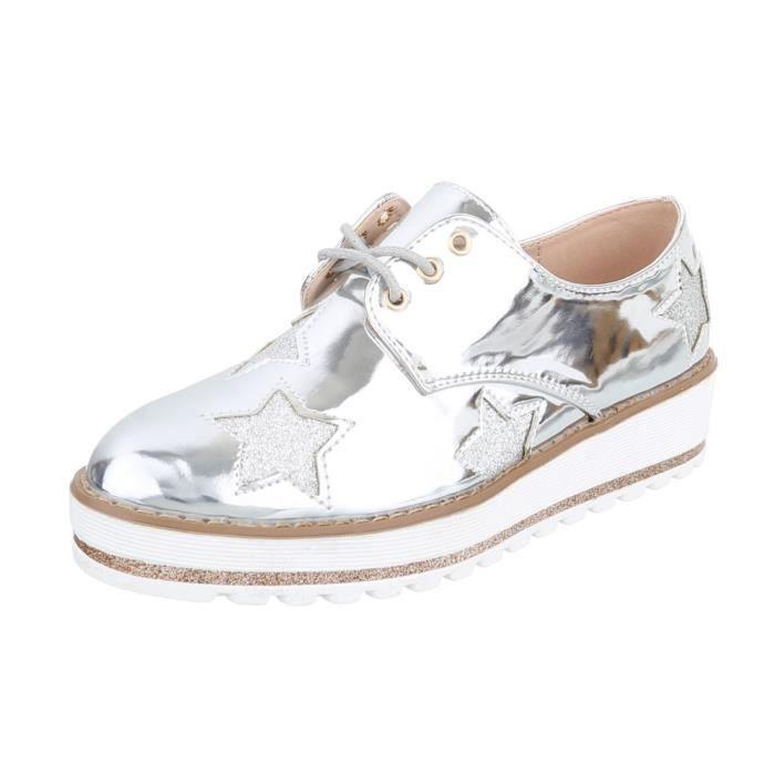 gris Chaussures 41 Argent Rose Laceter neurs Fl argent Femme TUqOwTB8
