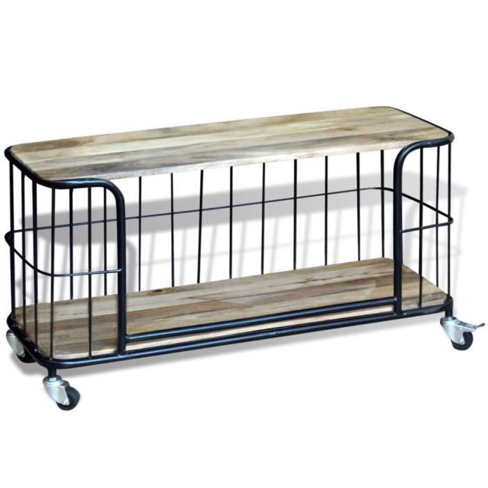 meuble tv 100 x 40 x 45 cm bois de manguier massif audio vido et pour home cinma