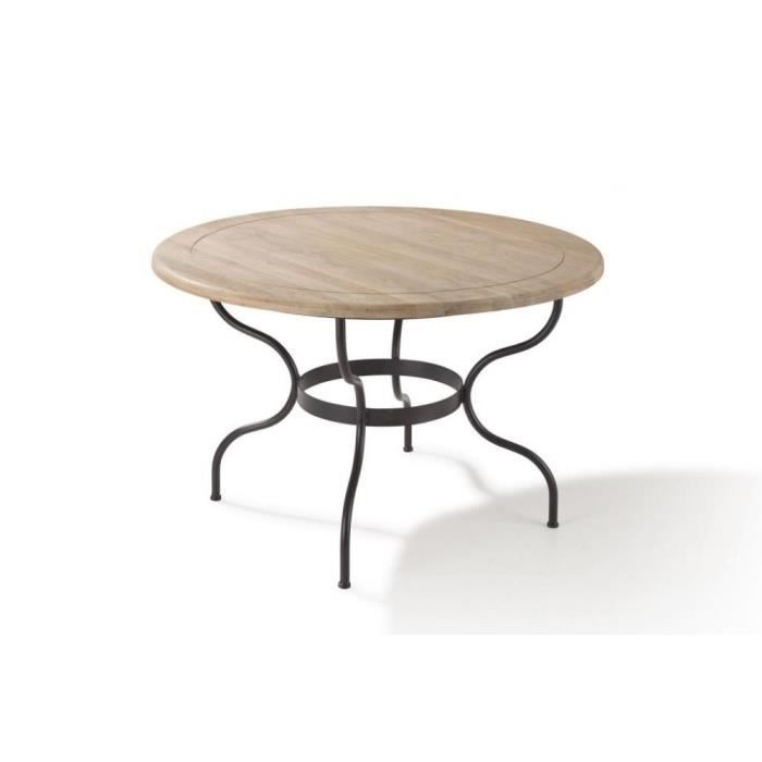 Table ronde 120cm ch ne et fer forg cigale achat for Table ronde fer forge