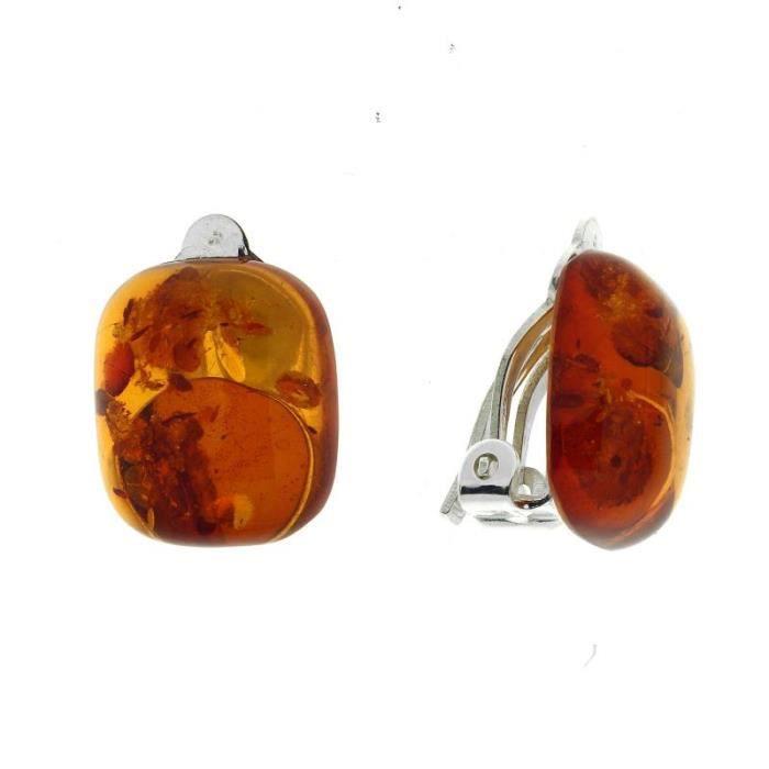 Boucles d oreilles Argent 925 Ambre ref 41714 Orange