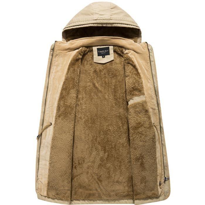 Lavage Et Coton Hiver Longueur Automne Cachemire Épaississants Moyenne Kaki Manteau Hommes tqSUUnx
