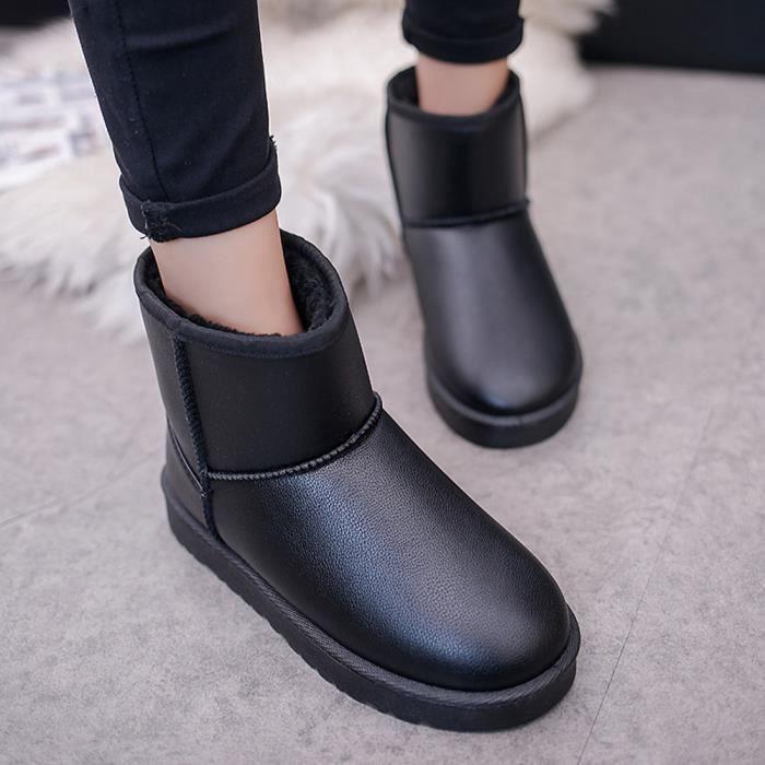 Bottes Cheville Plates Femmes Neige D'hiver Chaud Doublé Noir Chaussures Coton Fourrure Les BwA5T