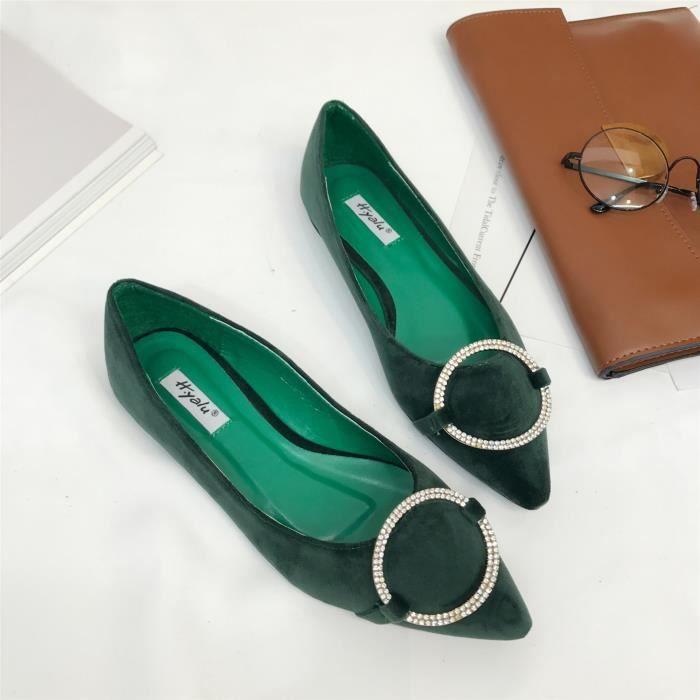 Dames chaussures plates talon plat sexy avec diamant en daim bout pointu chaussures pointues,jaspe,37