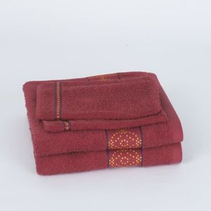 JULES CLARYSSE Lot de 2 serviettes + 2 gants de toilette ORIENTAL - Rouge