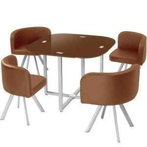 TABLE À MANGER COMPLÈTE Table et chaises Mosaic 90 Marron