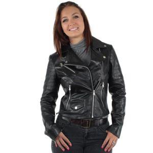 Veste cuir femme redskins marron