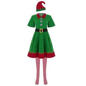 9c8af5b7a0bad DÉGUISEMENT - PANOPLIE Robe de Noël Elfe-Lutin Déguisement Femme Adulte ...