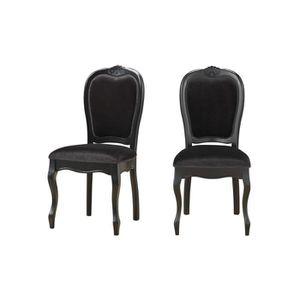 CHAISE Chaise médaillon en tissu (lot de 2) Noir PRINC...